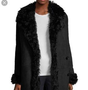 Theory black abriena Gosford shearling coat size p
